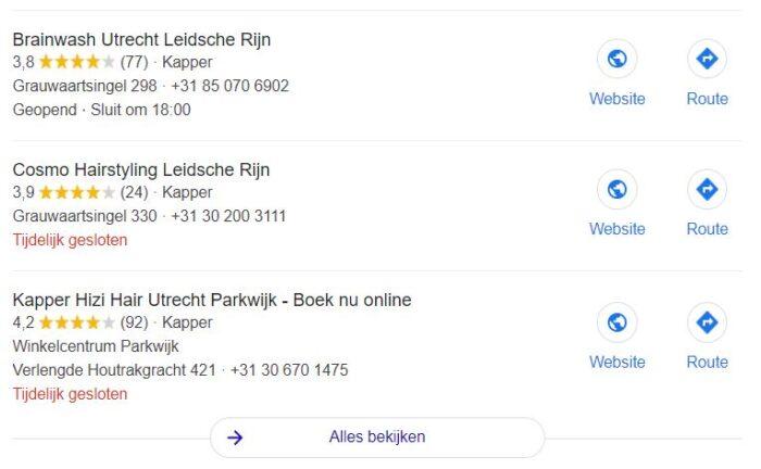 Voorbeeld van Googles Local Pack in de SERP
