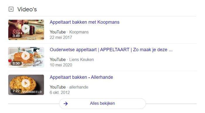 Voorbeeld van video in Google SERP